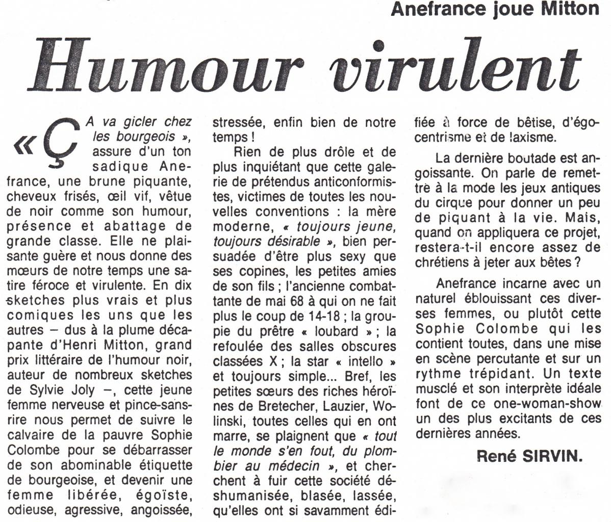Article : Le Figaro 06-01-1984