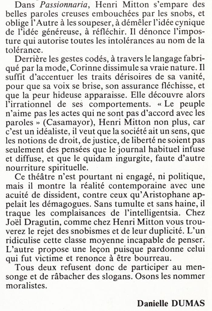 passionaria : Editorial de l'Avant Scène Théâtre