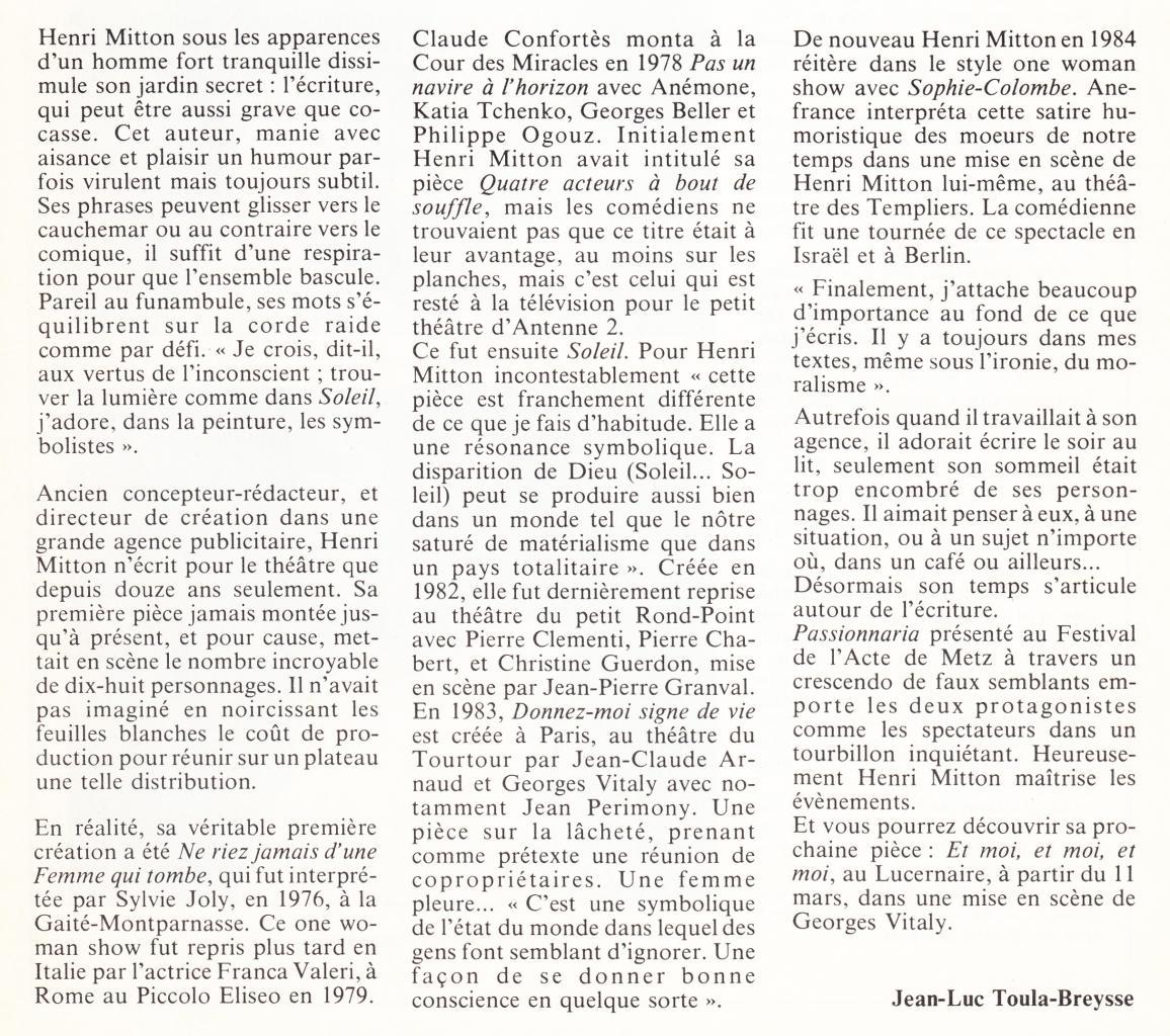 Interview par Jean Luc Toula-Breysse dans l'Avant Scène Théâtre